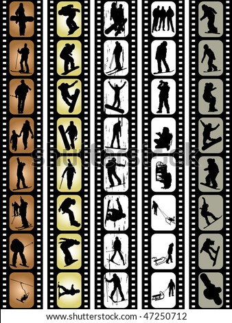 extreme sport silhouettes snowboarding skiing driving playing photographing in film tape