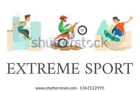 Extreme sport vector. skateboarder young person in city, parkour guy jumping from roof of skyscraper. dangerous hobby. Motorcycling motorbike riding.