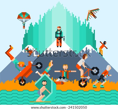Extreme sports concept with people skating windsurfing cycling parachute jumping vector illustration