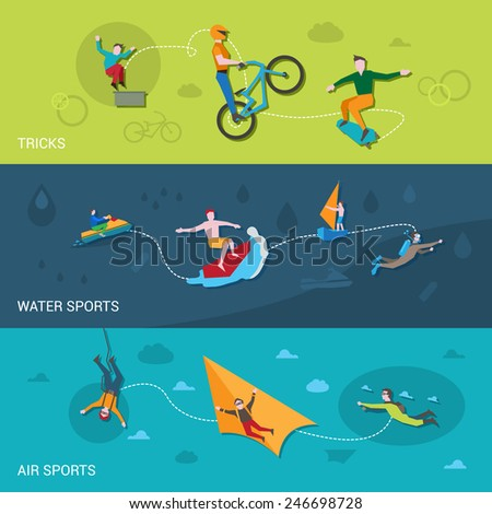 Extreme sports flat banners set with tricks water and air elements isolated vector illustration