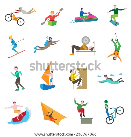 extreme sports icons set with