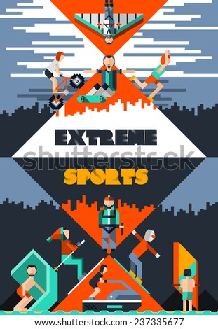 Extreme sports poster with pixel people avatars ground water and air activities vector illustration