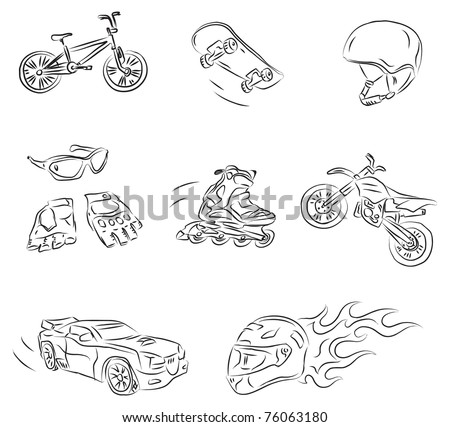 Extreme Sports Vector Sketch - stock vector