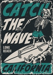 Extreme surfing vintage poster with letterings and skeleton surfer riding ocean wave vector illustration