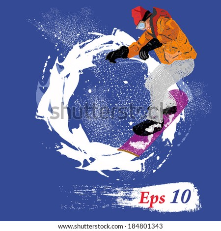 Extreme Winter Sport.Mountain skiing.Extreme Snowboard.Vector