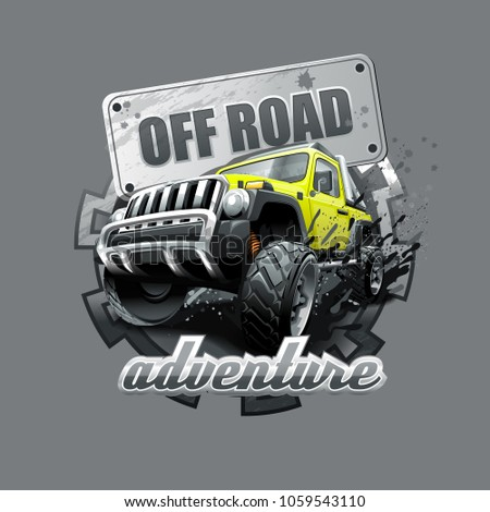 Extreme yellow Off Road Vehicle SUV. Vector illustration.