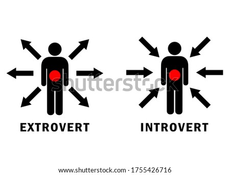 Extrovert and introvert vector icons on white background Foto stock ©
