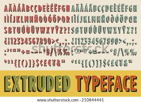 extruded typeface in two color...