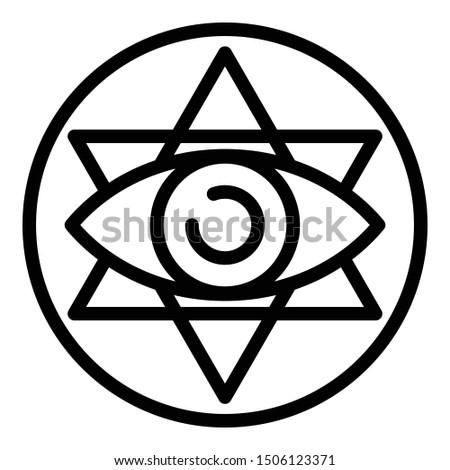 Eye alchemy emblem icon. Outline eye alchemy emblem vector icon for web design isolated on white background