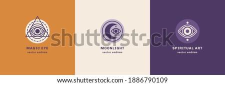 Eye and Moon abstract logo set, branding design template, trendy line art minimal style. Vector illustration. Geometric Alchemy Symbol, Occult and Mystic Sign. Secret society Symbol.