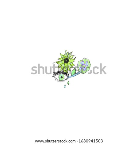eye  and two flowers with green