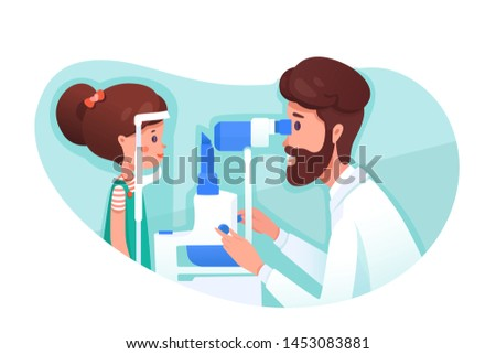 Eye clinic appointment flat vector illustration. Optometrist checking kid eyesight with spectacles medical equipment. Girl cartoon character at ophthalmology hospital isolated clipart