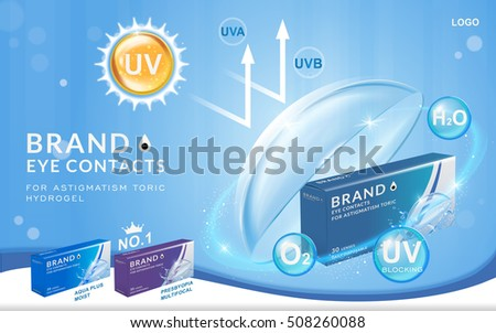 Eye contacts ads template, UV blocking contact lenses. Product ads and package design in 3d illustration.