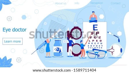 Eye doctor concept for health care banner. Glaucoma treatment concept vector. Medical ophthalmologist eyesight check up with tiny people. It can be used for flyer, card, web, landing page.