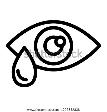 Eye drop line icon. Eye with tear vector illustration isolated on white. Eye with drop outline style design, designed for web and app. Eps 10