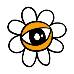 Eye flower chamomile hand drawn vector doodle icon logo in cartoon style yellow white