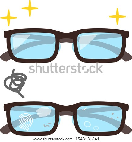 Eye glasses with clean lenses and dirty lenses