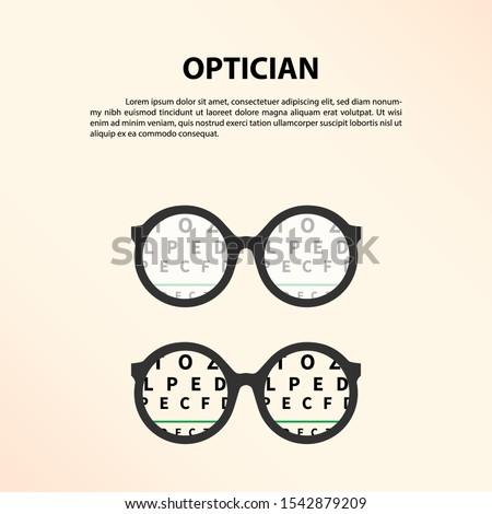 Eye glasses with eye chart. Optician, Vision Of Eyesight Vector Illustration