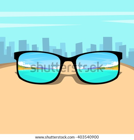 eye glasses with summer sea
