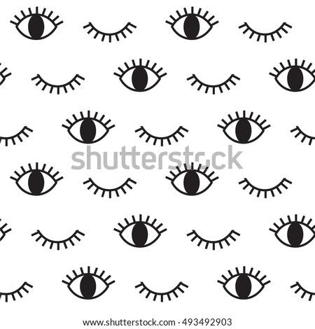 Eye, hipster, black and white pattern. Vector art.