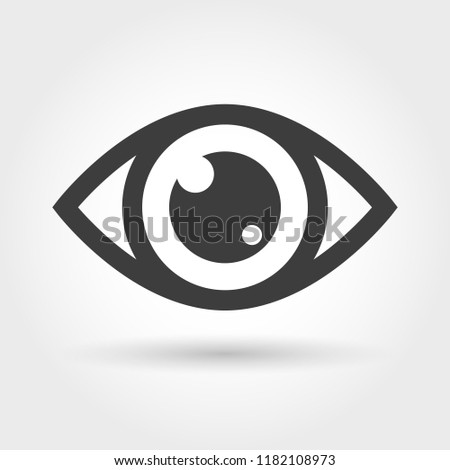 Eye icon. View icon isolated on white background, glance vision sign, sight or looking or watch vector symbol