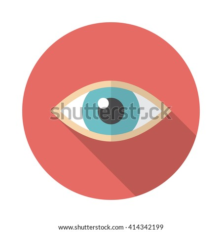 eye icon with long shadow flat