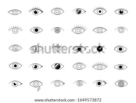 Eye icons. human vision and view signs. visible, sleep and observe symbols