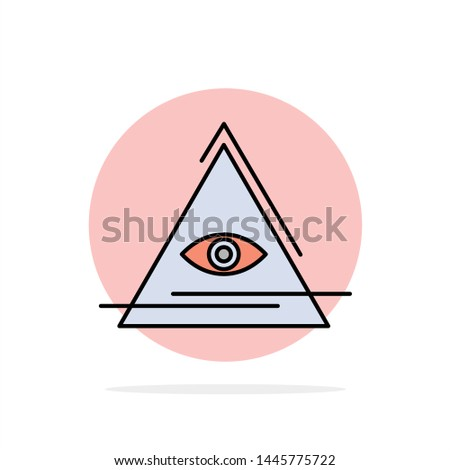 Eye, Illuminati, Pyramid, Triangle Abstract Circle Background Flat color Icon