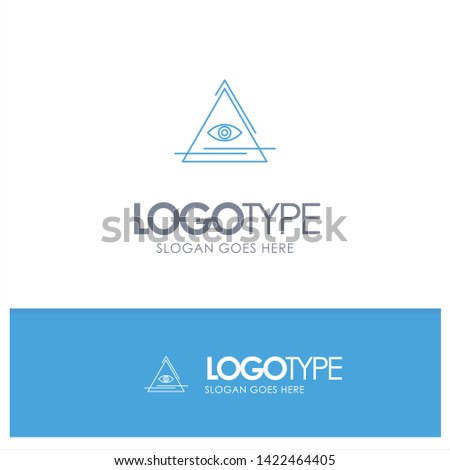 Eye, Illuminati, Pyramid, Triangle Blue outLine Logo with place for tagline