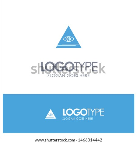 Eye, Illuminati, Pyramid, Triangle Blue Solid Logo with place for tagline. Vector Icon Template background