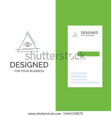 Eye, Illuminati, Pyramid, Triangle Grey Logo Design and Business Card Template. Vector Icon Template background
