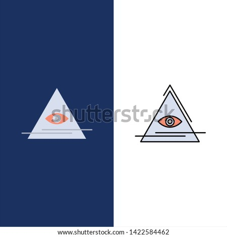 Eye, Illuminati, Pyramid, Triangle  Icons. Flat and Line Filled Icon Set Vector Blue Background