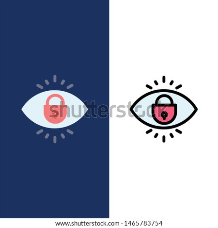 Eye, Internet, Security, Lock  Icons. Flat and Line Filled Icon Set Vector Blue Background. Vector Icon Template background