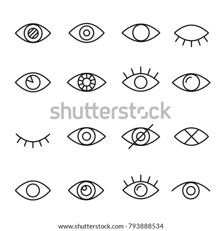 Eye line icon. Human organ of sight in different positions, visual system in graphic design. Vector line art eye illustration isolated on white background