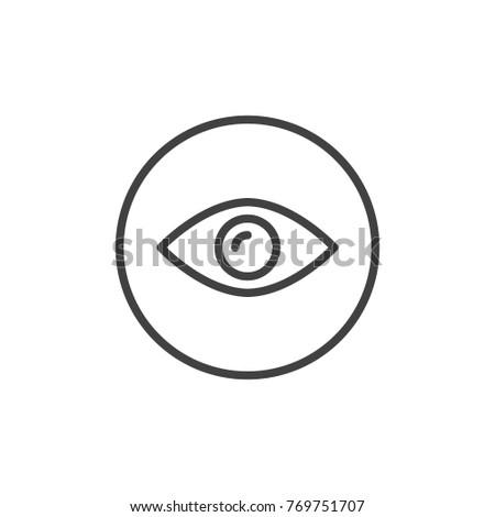 Eye line icon, outline vector sign, linear style pictogram isolated on white. Eyeball vision symbol, logo illustration. Editable stroke