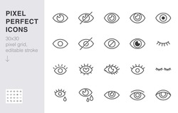 Eye line icon set. Open, closed eyes, visible invisible concept, hidden password, view minimal vector illustrations. Simple outline signs for web application ui. 30x30 Pixel Perfect. Editable Strokes.