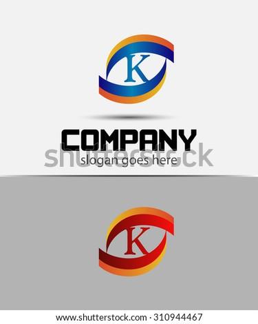 eye logo element with letter k