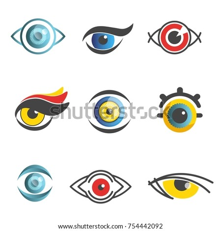Eye logo template set of color graphic human eyes with color flat pupil. Vector isolated eye icons for ophthalmology or optical medicine and art decoration or high technology design element