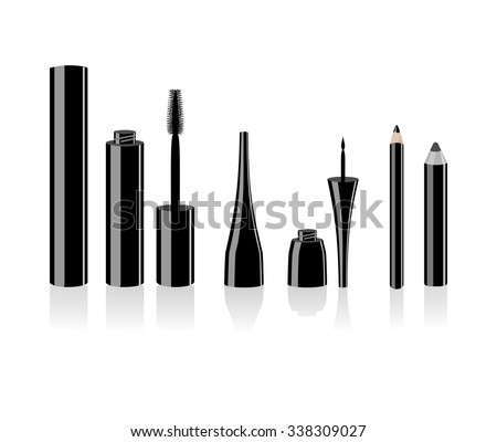Eye makeup accessory set - mascara, eyebrow pen, liquid eyeliner. Vector art image illustration for cosmetic banners, brochures and promotional items. Open make up tube . isolated on white background
