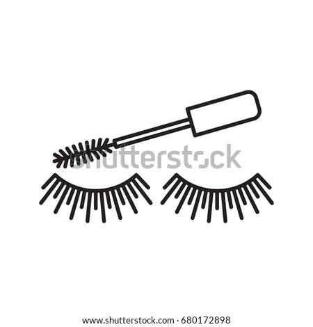 Eye mascara application linear icon. Cosmetic. Women goods. Eyelashes applying. Thin line illustration. Makeup. Contour symbol. Vector isolated outline drawing