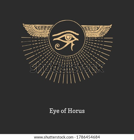 Eye of Horus, vector illustration in engraving style. Vintage pastiche of esoteric and occult sign. Drawn sketch of magical and mystical symbol. Stock photo ©