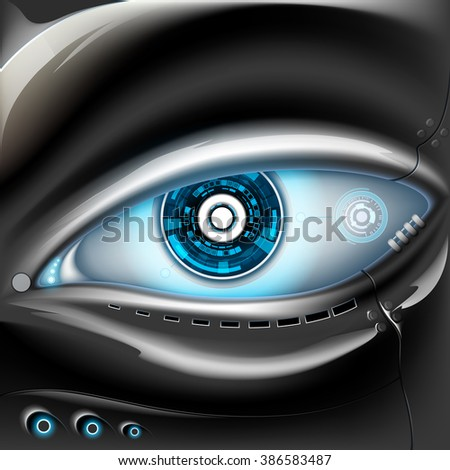 eye of metal robot futuristic