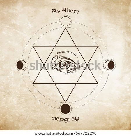 Eye of providence in the center of the hexagram. As above, so below - is a maxim in sacred geometry or hermeticism. Hand drawn medieval esoteric style vector illustration.