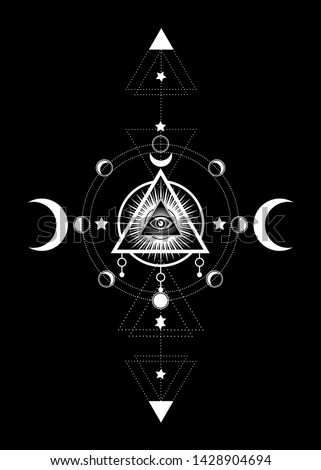 Eye of Providence. Masonic symbol. All seeing eye inside triple moon pagan Wicca moon goddess symbol. Vector illustration. Tattoo, astrology, alchemy, boho and magic symbol. Circle of a moon phase