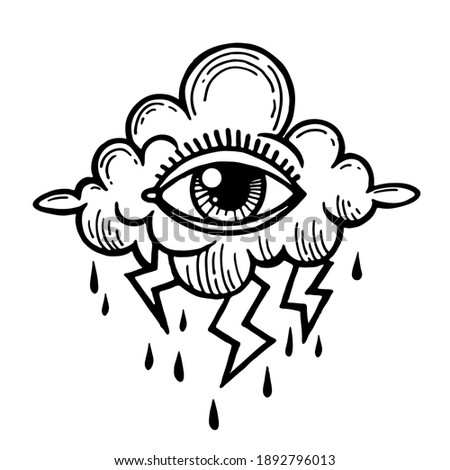 Eye of Providence. Masonic symbol. All seeing eye with clouds. Old school tattoo with eye. Isolated vector illustration. Conspiracy theory. Astrology, alchemy, boho and magic symbol. Vector astrology