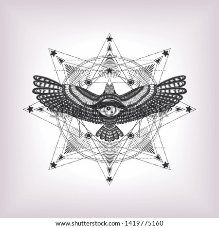 Eye of providence with sacred geometry and eagle. Six pointed star and drawing flying bird with magic look. Masonic symbol. Sketch for print t shirt and tatoo art. Alchemy. The vintage occult sign.