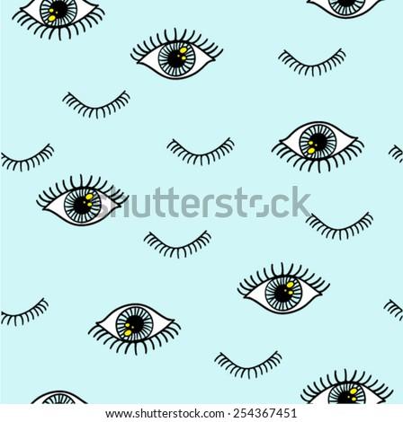 Eye pattern with eyelash in vector.
