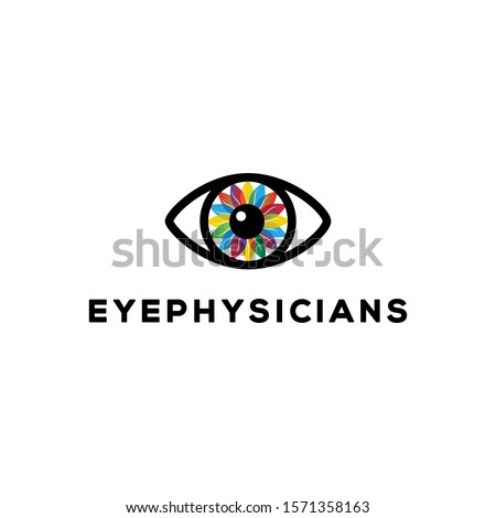 eye physicians concept idea logo design. vector icon illustration inspiration