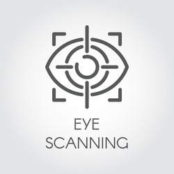 Eye scanning line icon. Biometric recognition system. Retina sensor technology. Outline logo for websites, mobile apps and other design needs. Vector illustration
