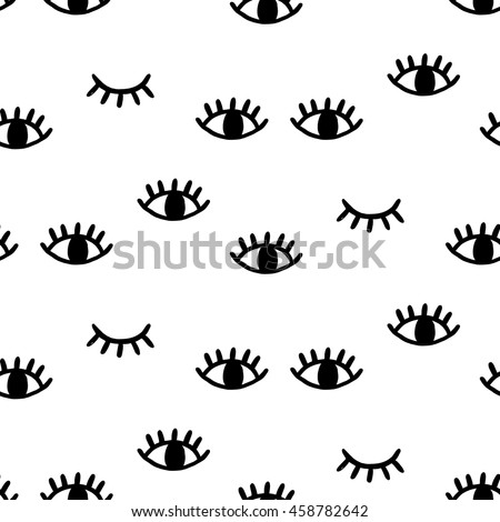 Eye seamless pattern. Vector hand drawn wink, open, close eyes with lash background, isolated on white